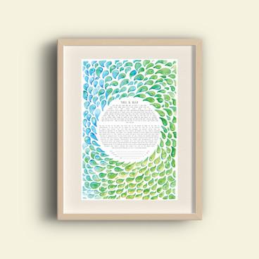 Green & Blue watercolor Ketubah
