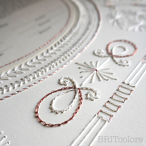 White & Copper Embroidered Ketubah