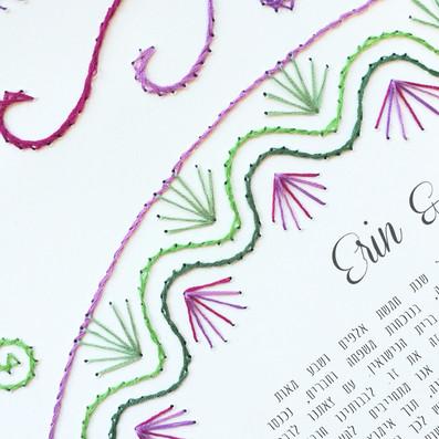 """""""Spring Bloom"""" Embroidered Ketubah"""
