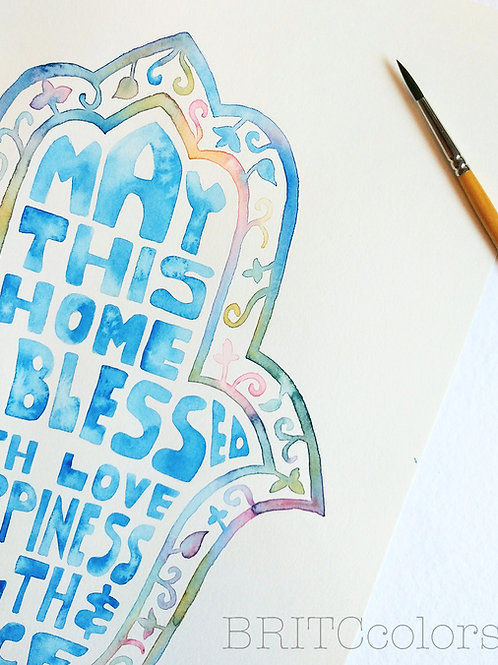 Hamsa Hand Home Blessing- Blue Floral Print version