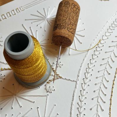 """Gold & White"" Embroidered Ketubah"