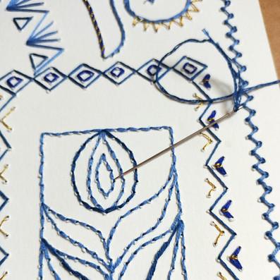 Blue & Gold Embroidered Ketubah