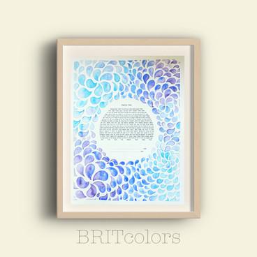 Blue & Purple Watercolor Drops Ketubah