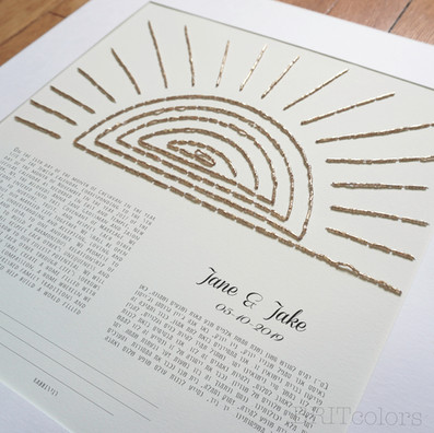 """Santorini Sunset"" Beaded Ketubah"
