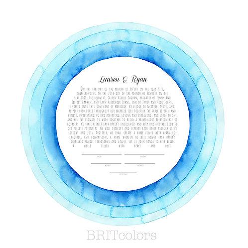 Blue Rings Ketubah