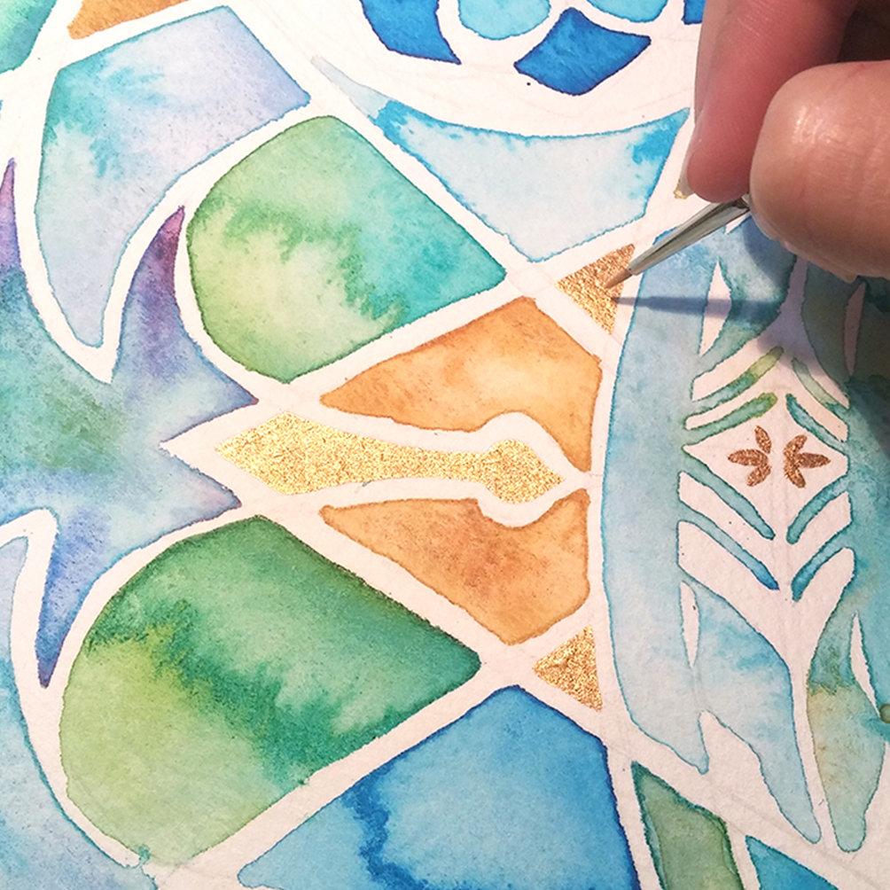 Star of David Watercolor Mosaic Ketubah | BRITcolors -Ketubah