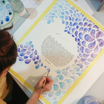 Erin & Eric - Blue & Purple watercolor drops
