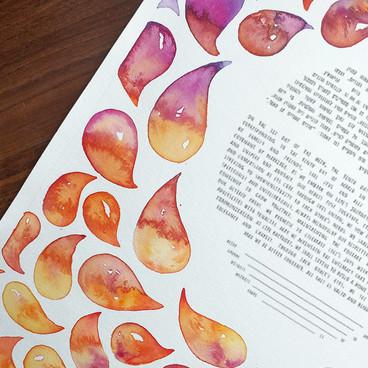 Orange & Pink Watercolor Drops Ketubah