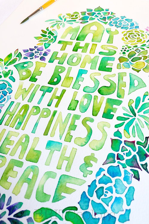 Succulents Hamsa Hand Home Blessing- Print version
