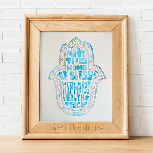 Hamsa Hand Home Blessing, Blue Floral