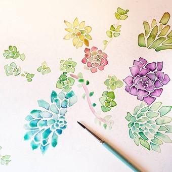 Watercolor Succulent