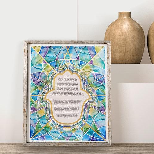 Custom Watercolor, Embroidered & Gold Leaf Ketubah