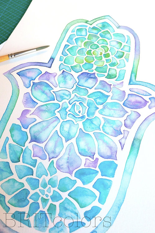 Succulents Hamsa Hand Painting- Print version