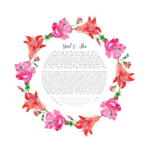 Watercolor Hibiscus Ketubah