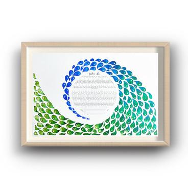 Ocean Watercolor Drops Ketubah