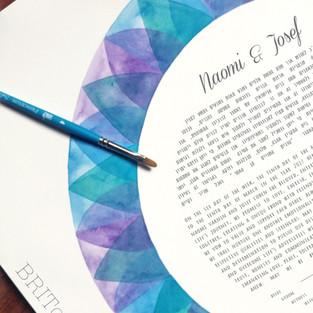 Indigo Mandala watercolor Ketubah