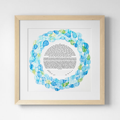 Blue & Green Watercolor Drops Mandala Ketubah