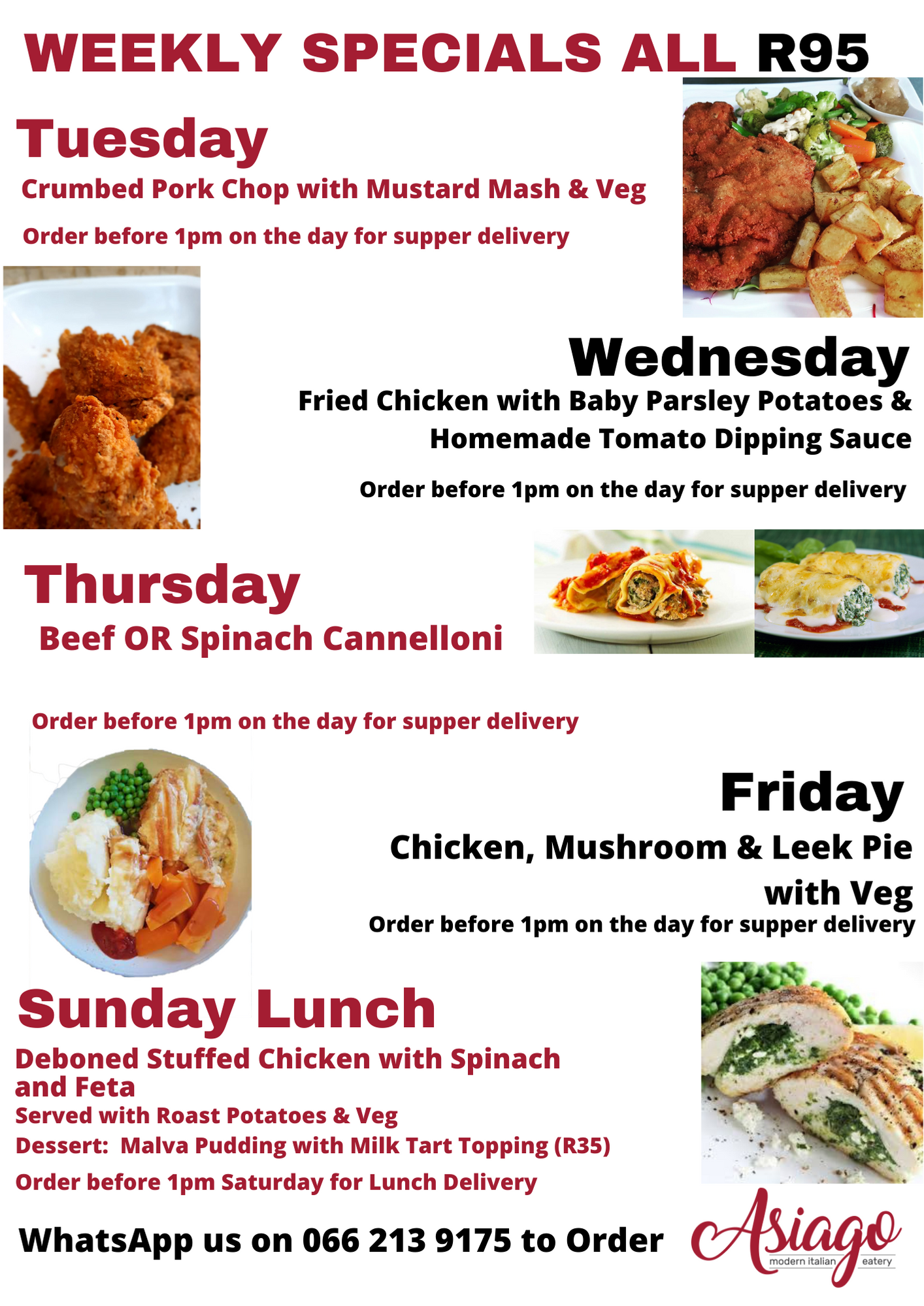 Weekly Specials Poster
