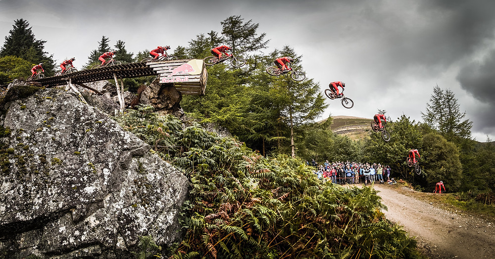 Stages of the infamous Red Bull Hardline road gap