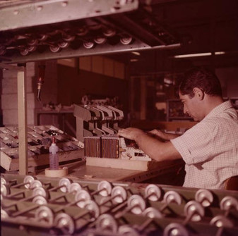 Assembly of IME 86S electronic desktop calculators 9/20/1967