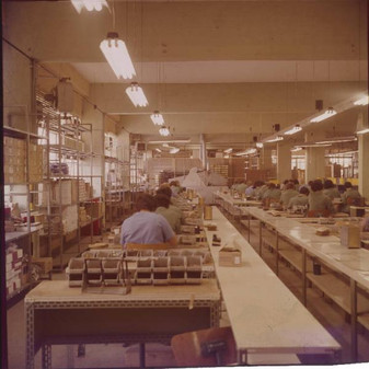 Pomezia; IME S.p.A. factory plant. Printed circuit board assembly line for the IME 86S electronic desktop calculators 9/20/1967
