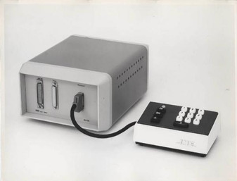 Multistorage IME MS-30 memory unit with ferrite cores together with remote keyboard. Photo taken in 1968