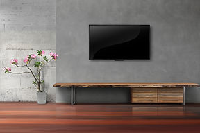 Living Room Led Tvs On Concrete Wall Wit