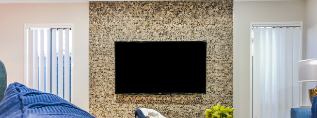 Sony TV on Stone Feature Wall