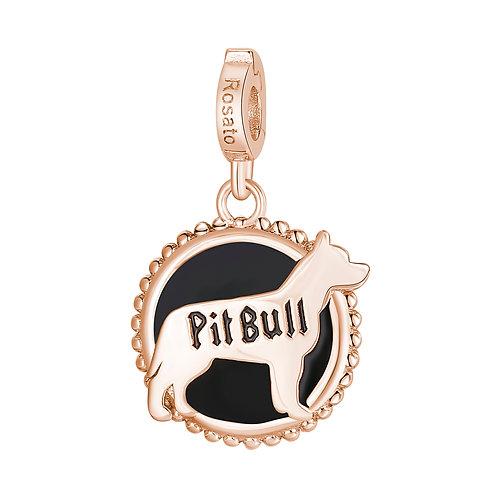 Rosato - Pit Bull Charm in argento 925‰, placcatura oro rosa e smalto nero RZ108