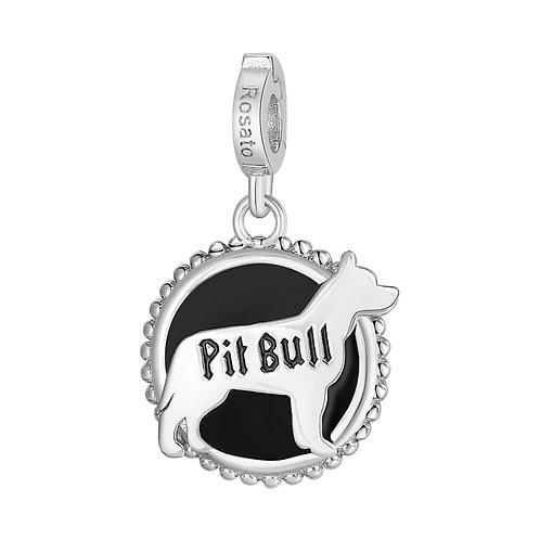 Rosato - Pit Bull Charm in argento 925‰ e smalto nero RZ108R