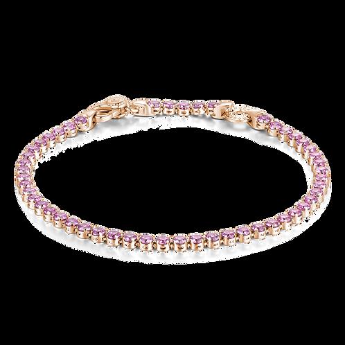 Rosato - Bracciale tennis Argento 925‰,galvanica oro rosa pietre lavanda RZB011B