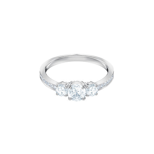 Swarovski - ANELLO ATTRACT TRILOGY ROUND, BIANCO, PLACCATURA RODIO 5414972