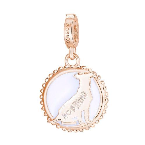 Rosato - No Brand Charm in argento 925‰, placcatura oro rosa e smalto RZ119