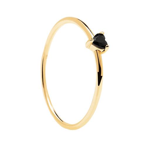 PdiPaola - Anello dorato Black Heart argento 925 AN01-224-14