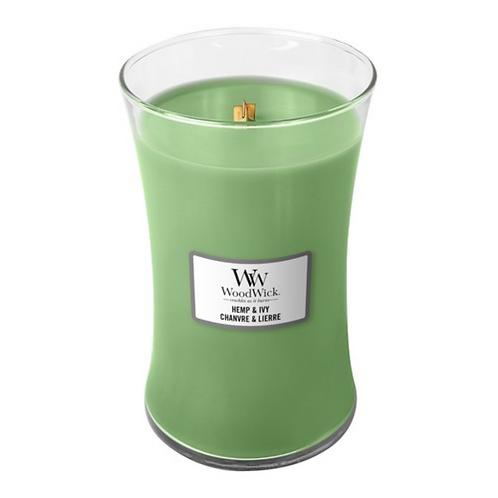 Woodwick - Candela a clessidra 609.5g - Hemp & Ivy