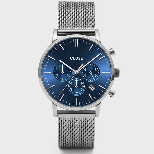 Cluse - Aravis Chrono Mesh Blue, Silver Colour - CW0101502004