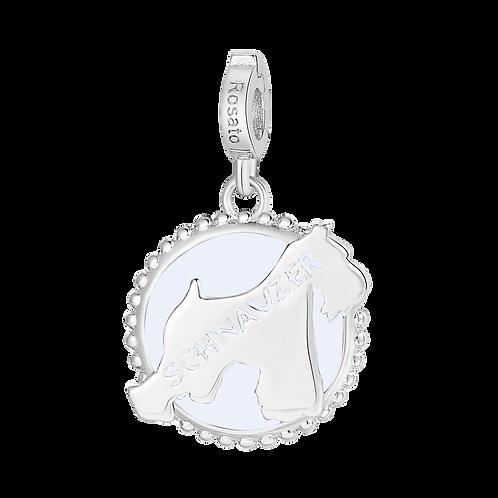 Rosato - Schnauzer Charm in argento 925‰ e smalto bianco RZ111R
