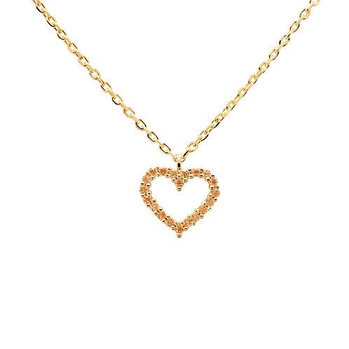 PdiPaola - Collana dorata Champagne Heart argento 925 CO01-222-U