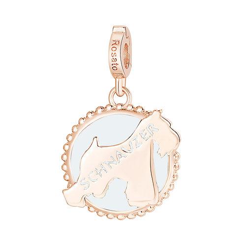 Rosato - Schnauzer Charm in argento 925‰, placcatura oro rosa e smalto RZ111