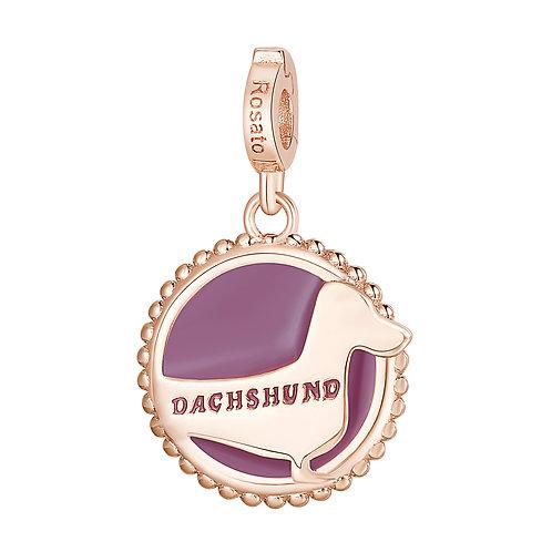 Rosato - Bassotto Charm in argento 925‰, placcatura oro rosa e smalto rosa RZ117