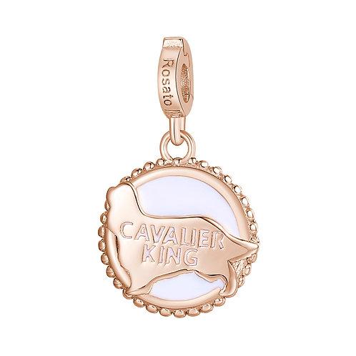 Rosato - Charm in argento 925‰, placcatura oro rosa e smalto bianco RZ106