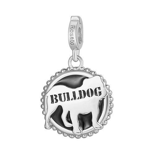 Rosato - Bulldog Charm in argento 925‰ e smalto nero RZ114R