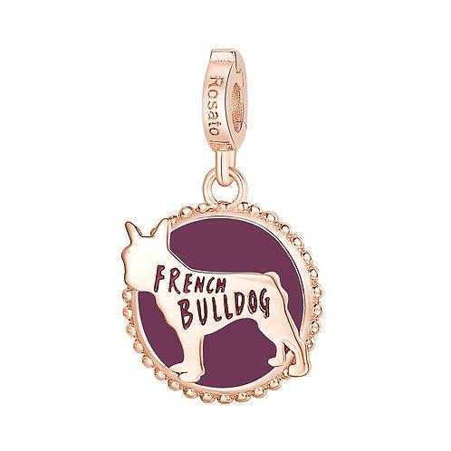 Rosato - Bulldog Francese Charm in argento 925‰, placcatura oro rosa RZ116