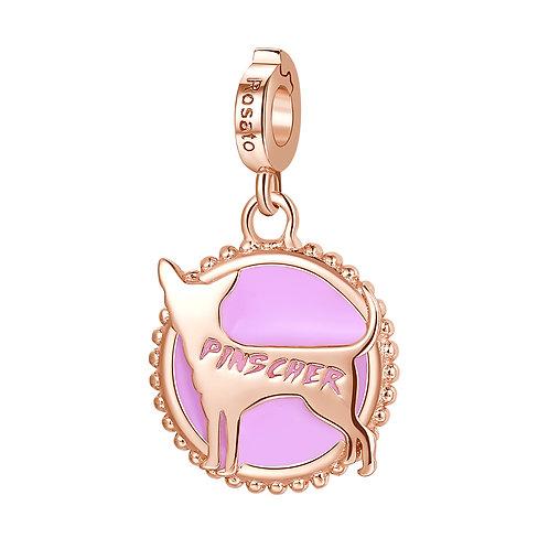 Rosato - Pinscher Charm in argento 925‰, placcatura oro rosa e smalto rosa RZ107