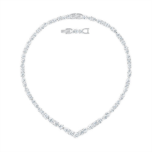 Swarovski - COLLANA A V TENNIS DELUXE MIXED, BIANCO, PLACCATO RODIO 5556917
