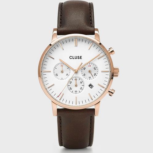 Cluse - Aravis Chrono Leather Brown, Rose Gold Colour - CW0101502002