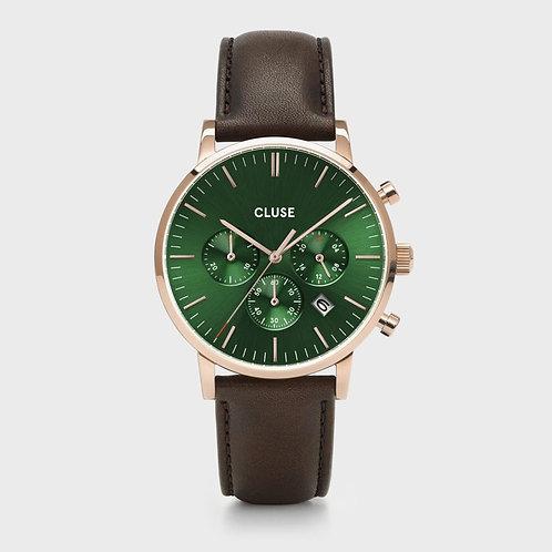 Cluse - Aravis Chrono Leather Green, Rose Gold Colour - CW0101502006