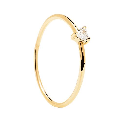 PdiPaola - Anello dorato White Heart argento 925 AN01-223-12