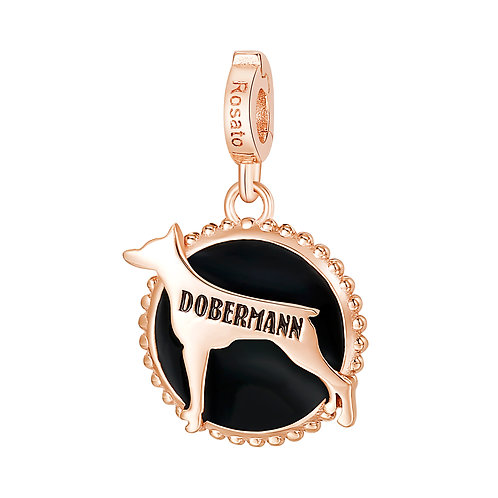Rosato - Dobermann Charm in argento 925‰,placcatura oro rosa e smalto nero RZ113