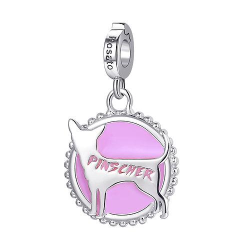 Rosato - Pinscher Charm in argento 925‰ e smalto rosa RZ107R